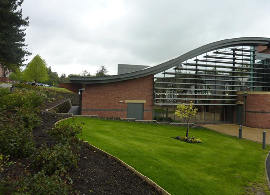Photo of Malvern College Sports Centre with reference to Hydro-geological design and sustainable drainage systems